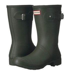 Short dark olive hunter boots